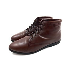 90's DANEXX brown leather ankle lace up boots